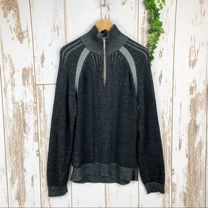 Guess Charcoal Ribbed 1/4 Zip Heavy Sweater EUC